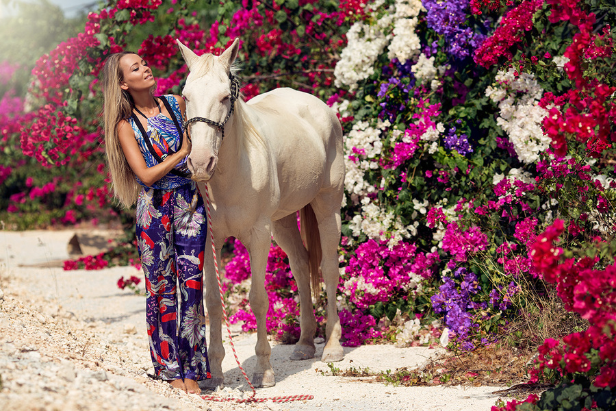 fashion editorial shoot for Zingara with horse and flowers