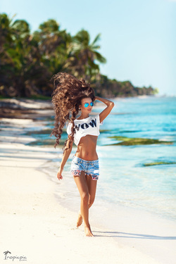 Amazing hair, perfect body, slim, fitness, beautiful girl on the beach
